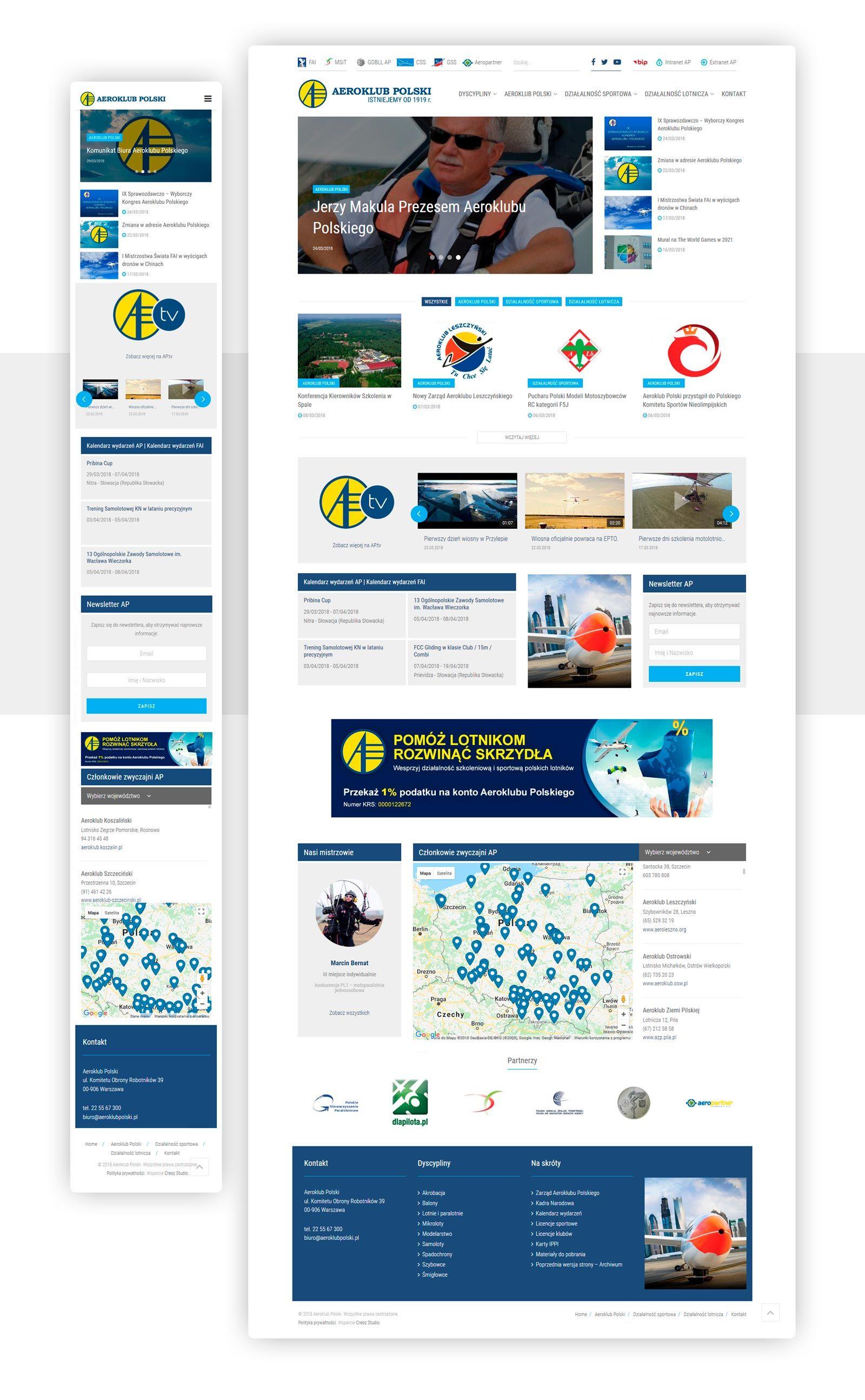 Projekt strony internetowej Aeroklub Polski